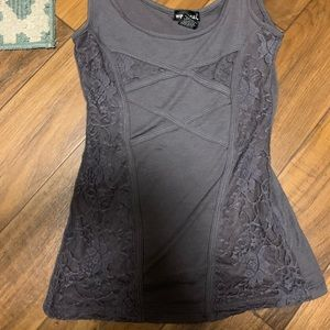Charcoal grey lace wet seal tank top
